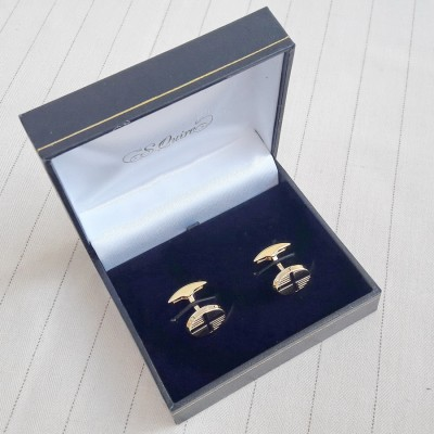 11-8934 Запонки S.Quire, никель, золотистого цвета с черными вставками