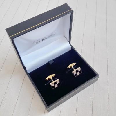11-8946 Запонки S.Quire, никель, золотистого цвета с черно-серыми вставками