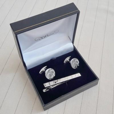 EG-16466 Набор S.Quire: заколка для галстука 66 мм + запонки, никель, серебристого цвета с гравировкой
