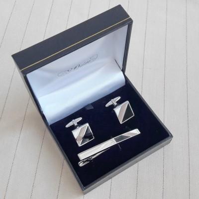 EG-7607 Набор S.Quire: заколка для галстука 66 мм + запонки, никель, серебристого цвета