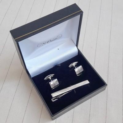 EG-7918 Набор S.Quire: заколка для галстука 65 мм + запонки, никель, серебристого цвета с гравировкой