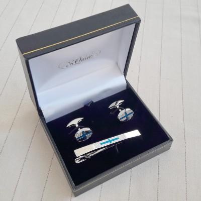 EG-87930  Набор S.Quire: заколка для галстука 65 мм + запонки, никель, серебристого цвета с синими вставками