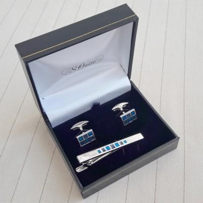 EG-7942  Набор S.Quire: заколка для галстука 65 мм + запонки, никель, серебристого цвета с синими вставками