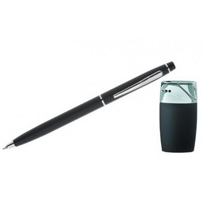 """SLP154BP-1000 Набор """"Pierre Cardin"""": шариковая ручка + газовая пьезо зажигалка.  Цвет -  матовый черный/хром"""