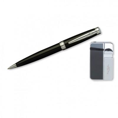 """SLP347BP-1085 Набор """"Pierre Cardin"""": шариковая ручка + газовая пьезо зажигалка, хром/черный лак."""