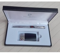 """MF-154-01-BP1 Зажигалка """"Pierre Cardin"""" газовая пьезо, черная матовая/ хром в наборе с ручкой"""