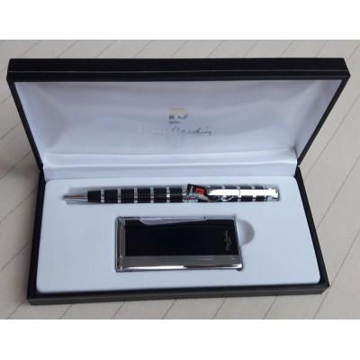 """MFH-276-04-BP2 Зажигалка """"Pierre Cardin"""" газовая кремниевая турбо, черный лак в наборе с ручкой"""