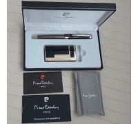 """MF-210-03-BP Зажигалка """"Pierre Cardin"""" для сигар, газовая турбо, цвет золотой/черный лак в наборе с ручкой"""