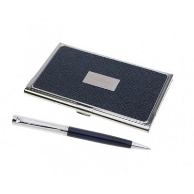 PC0853BP Шариковая ручка Pierre Cardin темно-синий лак/ хром + визитница