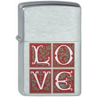 200 Love Зажигалка ZIPPO широкая, Brushed Chrome