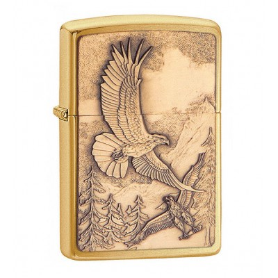 20854 Зажигалка Zippo широкая, Where Eagles Dare Emblem Brushed Brass