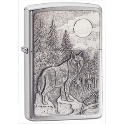 20855 Зажигалка Zippo широкая, Timberwolves Emblem Brushed Chrome