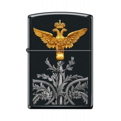 218 Russian Coat of Arrms Зажигалка Zippo широкая Двуглавый орел, Black Matte