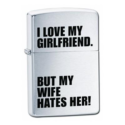 24522 Зажигалка Zippo широкая, I Love My Girlfriend