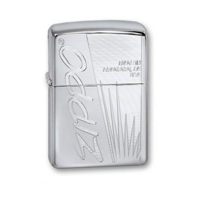 250 Zippo Made In US Зажигалка ZIPPO Classic с покрытием High Polish Chrome, латунь/сталь, серебристая, глянцевая, 36x12x56 мм