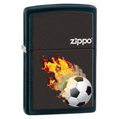28302 Зажигалка Zippo широкая, Black Matte, Soccer (Футбол)