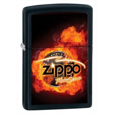 28335 Зажигалка Zippo широкая, Black Matte, Motorsports