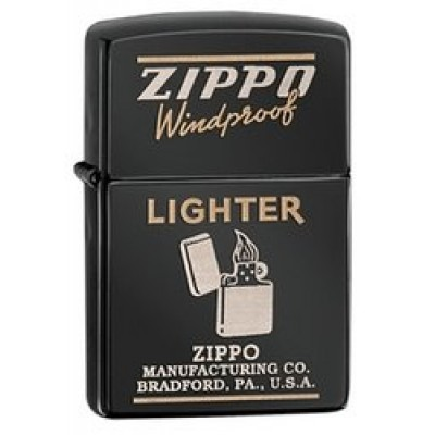 28535 Зажигалка Zippo широкая Zippo Windproof, Ebony