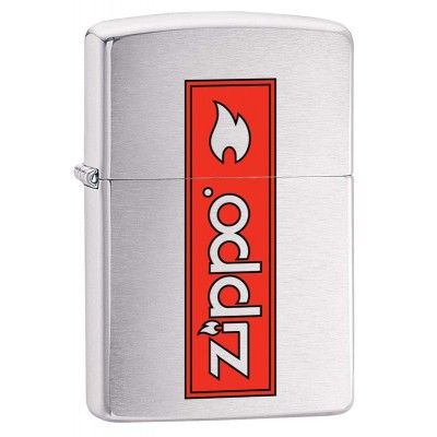 29203 Зажигалка Zippo широкая 200 Zippo Logo с покрытием Brushed Chrome, латунь/сталь, серебристая