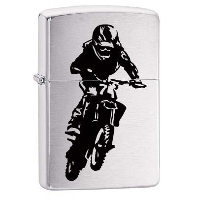 29207 Зажигалка Zippo широкая 200 Motorcross Rider с покрытием Brushed Chrome, латунь/сталь, серебристая