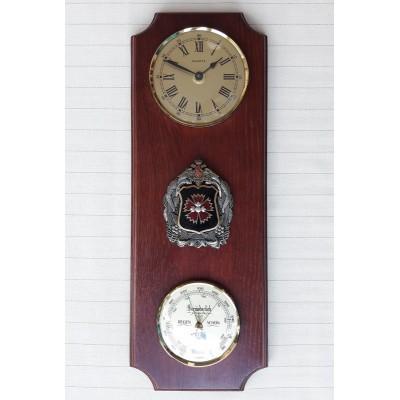УЦЕНКА 9170 Метеостанция FISCHER (барометр, часы), 410х150 мм, Логотип ГРУ, МАССИВ ДУБА, ЦВЕТ ОРЕХ