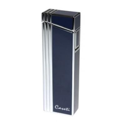 "CA-247(2) Зажигалка ""Caseti"" газовая турбо,сплав цинка, хром синий лак, 2,4х1,3х7,6 см."