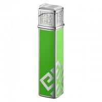 "1622 Зажигалка ""Givenchy"" газовая пьезо, Dia silver Green Lacquer, 1,5x1,5x7,5 см"