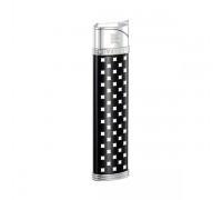 "2807 Зажигалка ""Givenchy"" газовая пьезо, Dia-silver black lacquer, 1,7x0,8x8,0 см"