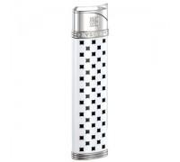 "2808 Зажигалка ""Givenchy"" газовая пьезо, Dia-silver white lacquer, 1,7x0,8x8,0 см"