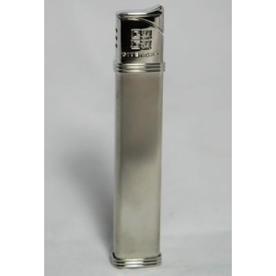 "3501 Зажигалка ""Givenchy"" газовая пьезо Silver satin, 1,5x0,9x8,3 см"