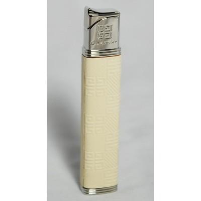 """3516 Зажигалка """"Givenchy"""" газовая пьезо, Dia-Silver Beige Leather, 1,5x0,9x8,3 см"""