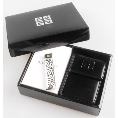 "G28-2010 Зажигалка ""Givenchy"" газовая пьезо Dia-silver + чехол для сигарет"