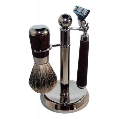 6167 Бритвенный набор S.Quire, коричневый: станок, рукоять из латуни с никелированным покрытием и дерева Венге; помазок, ворс барсука; подставка, латунь с никелированным покрытием