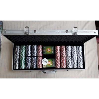 MARP034D Набор для покера в алюминиевом кейсе, 500 фишек по 11,5 г с номиналом, фишки - пластик, 571 x 230 x 65 мм