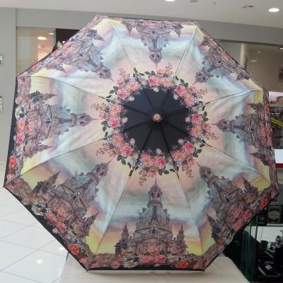 """Зонт """"Три Слона"""" женский №101-3, купол D=103 см, суперавтомат купол храма/ цветы"""