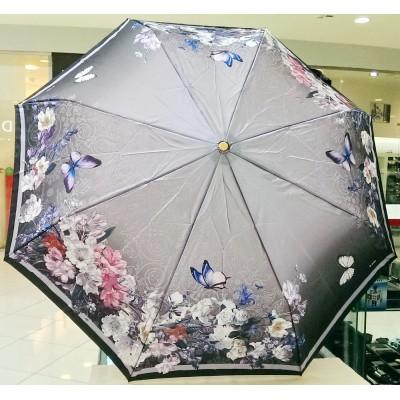 """Зонт """"Три Слона"""" женский №125-14, купол R=58 см, 8 спиц, серый, цветы, бабочки"""