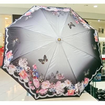"""Зонт """"Три Слона"""" женский №125-15, купол R=58 см, 8 спиц, серый, цветы, бабочки"""