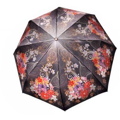 """Зонт """"Три Слона"""" женский №137-11, купол 58 см, (D=103 см), суперавтомат, цветы, черный"""