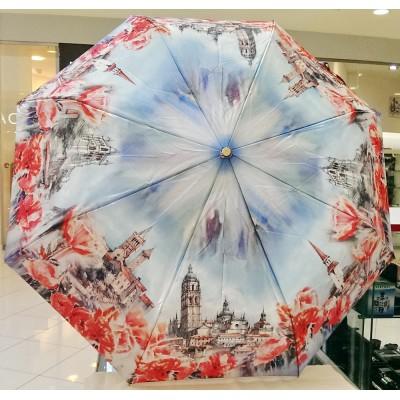 """Зонт """"Три Слона"""" женский №145-5, купол 58 см, 8 спиц, рисунок Исторический город"""