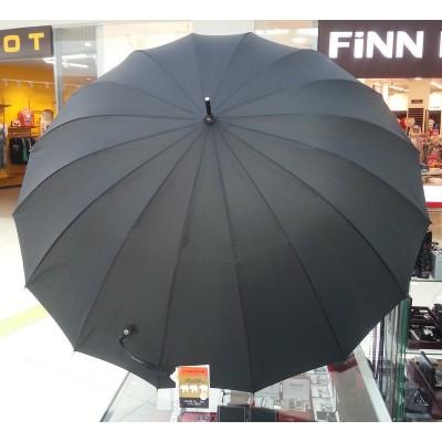 """Зонт-трость """"Три Слона"""" мужской №1600, радиус купола 65 см (D= 114 см), 16 спиц, черный, ручка крюк черная, полуавтомат"""