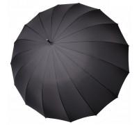 """Зонт-трость """"Три Слона"""" мужской №1610, купол D=114 см, 16 спиц, черный, тефлон, ручка крюк кожа"""