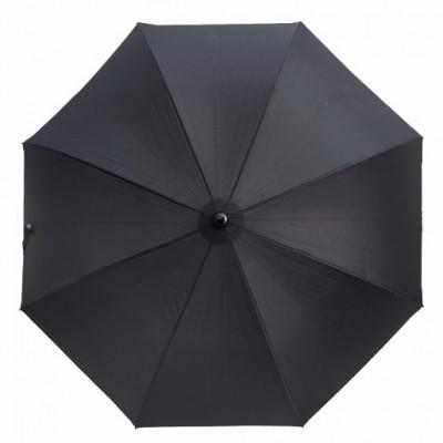 """Зонт-трость """"Три Слона"""" мужской №1775 механика, черный, ручка крюк кожа"""