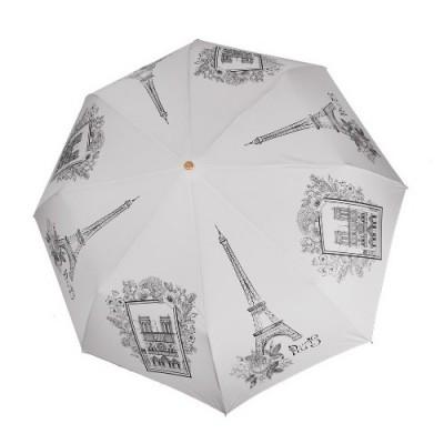 """Зонт """"Три Слона"""" женский №197-Y-2, купол D=103 см, суперавтомат Париж/ серый"""