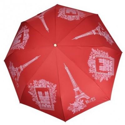 """Зонт """"Три Слона"""" женский №197-Y-3, купол D=103 см, суперавтомат Париж/ красный"""