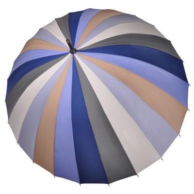 """Зонт-трость """"Три Слона"""" женский №2400-3, купол 55 см (D=97 см), 24 спицы, сине-серый"""