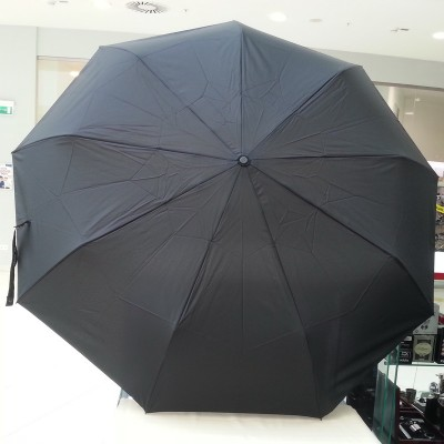 """Зонт """"Три Слона"""" мужской №700, радиус купола 70 см (D=122 см), 9 спиц, черный, ручка прямая пластик"""