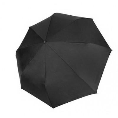 """Зонт """"Три Слона"""" мужской №720-L, радиус купола 70 см (D=122 см), 8 спиц, черный, ручка крюк кожа, семейный"""