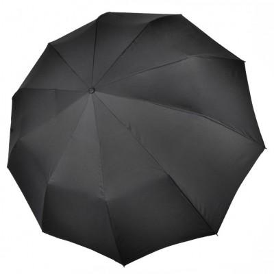 """Зонт """"Три Слона"""" мужской №725, радиус купола 70 см (D=122 см), 10 спиц, черный, ручка крюк кожа, семейный"""