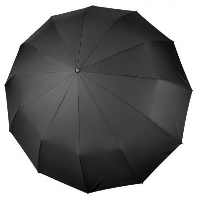 """Зонт """"Три Слона"""" мужской № M7125, радиус купола 70 см (D=125 см), 12 спиц, черный, ручка прямая пластик"""